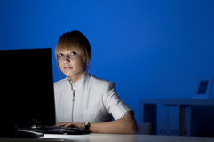 Office work at night Stock Image