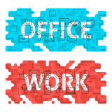 Office Work Outline Flat Concept Stock Photography