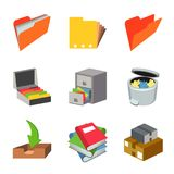 Office Work Paper Equipment Object Set Vector. Design Royalty Free Stock Photos