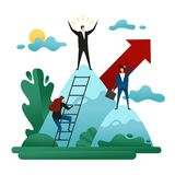 Office Work. People Climb to the Leadership Position. Achieve Success.  Concept of Career Growth. Business Concept Vector Illustra. Office Work. People Climb to Royalty Free Stock Photo