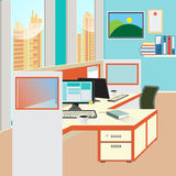 Office Work Place with Computer and Paper Documents Royalty Free Stock Image