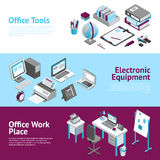 Office Work Place Isometric Banners Set Royalty Free Stock Images