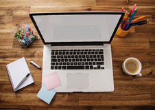 Office work place with notebook royalty free stock photography