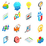 Office work set icons, isometric 3d style Royalty Free Stock Photos