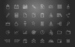 Office work. Set of vector linear icons. Royalty Free Stock Photo