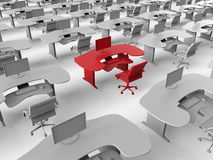 Office work space target in crowd. 3D render illustration of the concept of targeting in the crowd an office work space. One desk is colored in red indicating Royalty Free Stock Photos