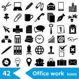 Office work theme simple black icons collection eps10. Office work theme simple black icons collection Stock Photography