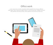 Office Work Top View Banner Design. Woman working with papers in one hand a piece of paper with the data, and the other indicates a digital tablet. Banner or Royalty Free Stock Photo