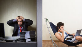 Office work vs freelance, concept Royalty Free Stock Images