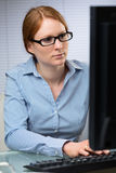 Office Work - Woman Behind Computer Royalty Free Stock Images
