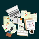 Office. Work. Workplace. Desk. The view from the top royalty free illustration