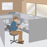 Office worker. Graphic illustration of a male office worker in his cubicle Royalty Free Stock Photography