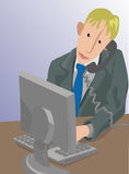 Office worker. A man working at a computer while talking on the phone royalty free illustration