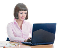 Office worker. Pretty girl, working in the office Royalty Free Stock Image