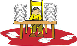 Office worker. And too many documents stock illustration