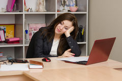 Office worker asleep at his desk Stock Photos