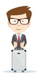 Office worker with a bag for travel, vector Stock Photo