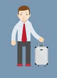 Office worker with a bag for travel, vector Royalty Free Stock Image
