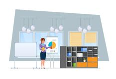 Girl, office worker, near presentation, stand with financial research. Office worker, in business office room, near to presentation stand. Girl tells about Royalty Free Stock Image