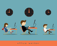 Office worker. Businesswoman and businesswoman work overtime Vector Illustration