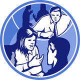 Office Worker Businesswoman Discussion Woodcut Circle Stock Photos