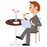 Office worker cafe PC royalty free illustration