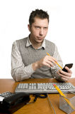 Office worker with calculator Stock Photos