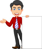Office worker cartoon with blank sign Stock Photo