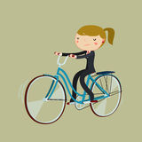Office worker cartoon woman riding bicycle. bike to work. Royalty Free Stock Photography