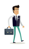 Office Worker Character Vector Illustration. Office worker character vector. Cartoon in flat style design. Man in business clothes with briefcase. Businessman Stock Photos