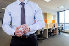 Office worker crease papers. Office worker wearing suit crease invalid papers stock images