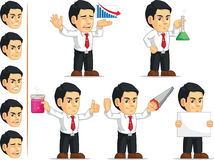 Office Worker Customizable Mascot 5. A vector set of a male office worker in several poses. Drawn in cartoon style, this vector is very good for design that need Royalty Free Stock Photo