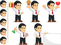 Office Worker Customizable Mascot 4. A vector set of a male office worker in several poses. Drawn in cartoon style, this vector is very good for design that need Royalty Free Stock Photos