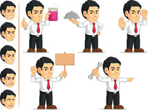 Office Worker Customizable Mascot 8. A vector set of a male office worker in several poses. Drawn in cartoon style, this vector is very good for design that need Stock Photos