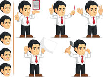 Office Worker Customizable Mascot 10. A vector set of a male office worker in several poses. Drawn in cartoon style, this vector is very good for design that Stock Photo