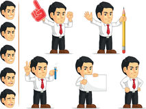 Office Worker Customizable Mascot 6. A vector set of a male office worker in several poses. Drawn in cartoon style, this vector is very good for design that need Stock Images