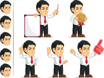 Office Worker Customizable Mascot 3. A vector set of a male office worker in several poses. Drawn in cartoon style, this vector is very good for design that need Royalty Free Stock Photos