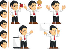 Office Worker Customizable Mascot 11. A vector set of a male office worker in several poses. Drawn in cartoon style, this vector is very good for design that Stock Image