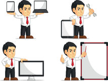 Office Worker Customizable Mascot 14. A vector set of a male office worker in several poses. Drawn in cartoon style, this vector is very good for design that Stock Images