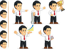 Office Worker Customizable Mascot 7. A vector set of a male office worker in several poses. Drawn in cartoon style, this vector is very good for design that need Stock Photo