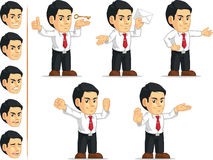 Office Worker Customizable Mascot 13. A vector set of a male office worker in several poses. Drawn in cartoon style, this vector is very good for design that stock illustration