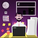 Office worker is delayed at work on New Year`s Eve. royalty free illustration