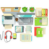 Office Worker Desk With Utilities And Stationary Including Lap Top Files And Printer Royalty Free Stock Image