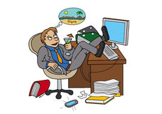 Office worker dreaming about vacation. Man sitting on workplace, drinking a cocktail and dreaming (vector graphic Royalty Free Stock Photography