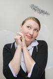 Office worker dressed as an angel Royalty Free Stock Images