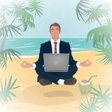 Employee levitates in lotus pose on beach Royalty Free Stock Photography