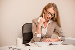 Office worker. Fashion model with glasses and in suit. Royalty Free Stock Image