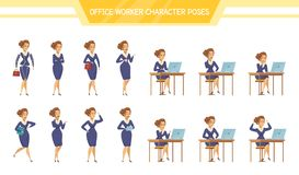 Office Worker Female ale  Poses Set. Female office worker poses talking on cell phone sitting at computer with tablet cartoon characters set vector illustration Stock Photos
