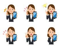 Office worker female smartphone set of expressions and gestures. The images of an Office worker female and her smartphone, set of expressions and gestures stock illustration