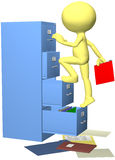Office worker files folder in 3D filing cabinet. 3D office worker character files a data file in a filing cabinet Royalty Free Stock Photography